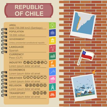 santiago: Chile infographics, statistical data, sights. Vector illustration Illustration