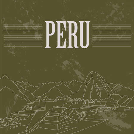 machu: Peru  landmarks. Retro styled image. Vector illustration