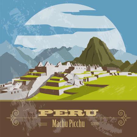america del sur: Hitos Perú. Estilo retro imagen. Ilustración vectorial Vectores