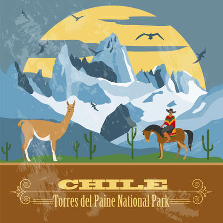 Chile landmarks. Retro styled image. Vector illustration
