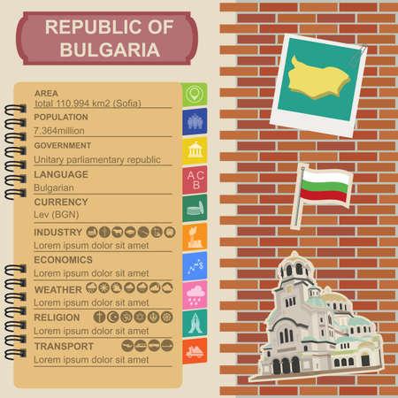 Bulgaria  infographics, statistical data, sights. Vector illustration Illustration