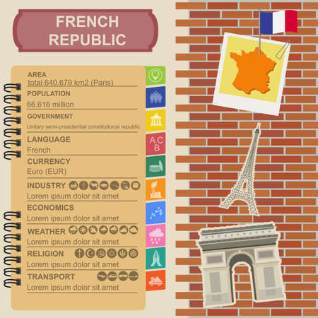 France infographics, statistical data, sights. Vector illustration