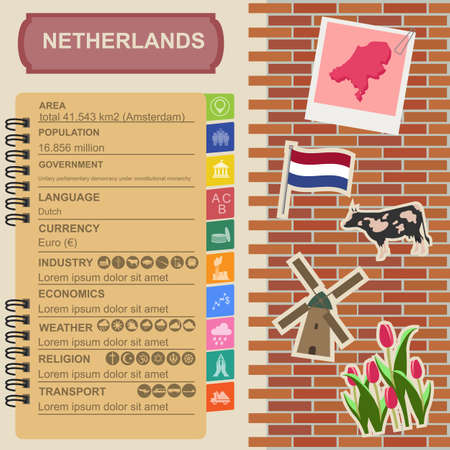 sights: Netherlands infographics, statistical data, sights. Vector illustration