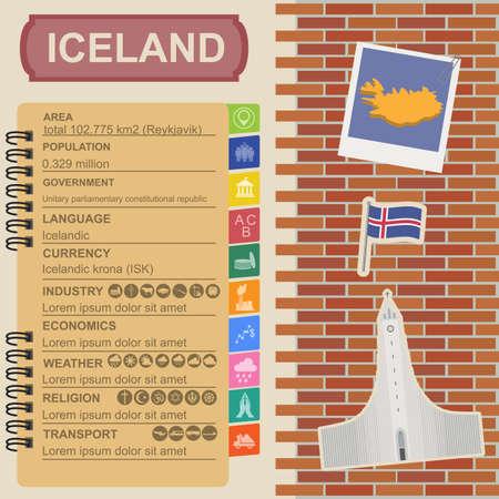 statistical: Iceland infographics, statistical data, sights. Vector illustration