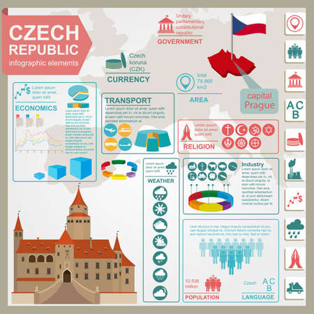 Czech  infographics, statistical data, sights. Vector illustration