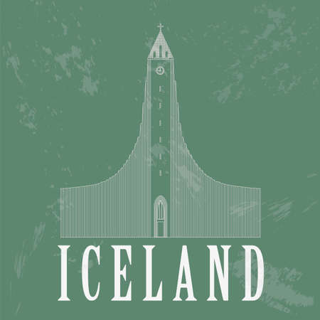 country church: Iceland landmarks. Retro styled image. Vector illustration