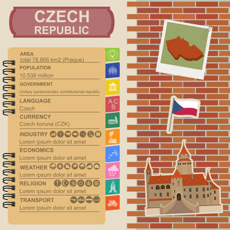 sights: Czech  infographics, statistical data, sights. Vector illustration