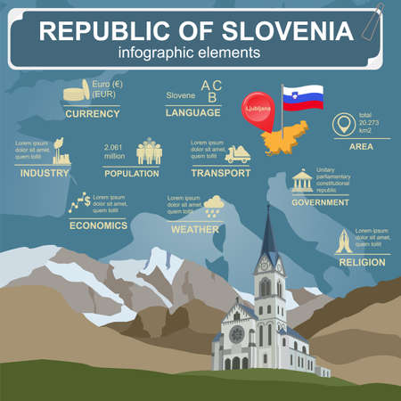 monument valley: Slovenia infographics, statistical data, sights. Vector illustration Illustration