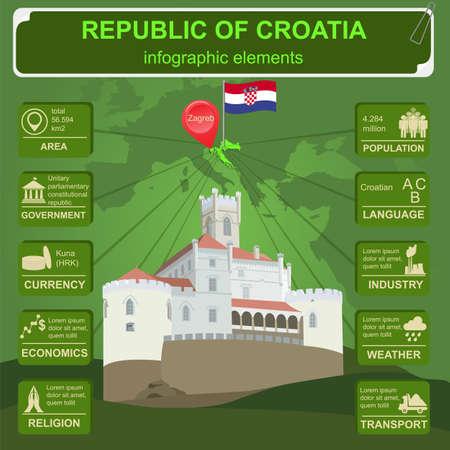 statistical: Croatia  infographics, statistical data, sights. Vector illustration Illustration