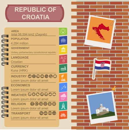 sights: Croatia  infographics, statistical data, sights. Vector illustration Illustration