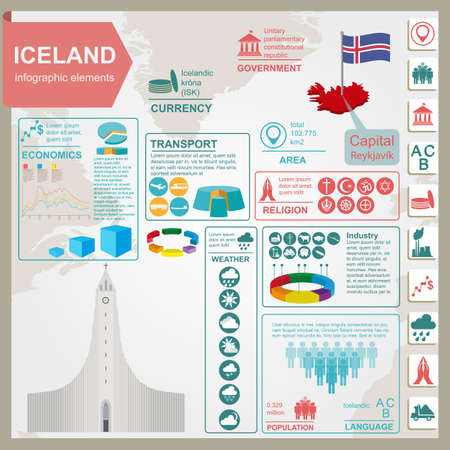iceland: Iceland infographics, statistical data, sights. Vector illustration