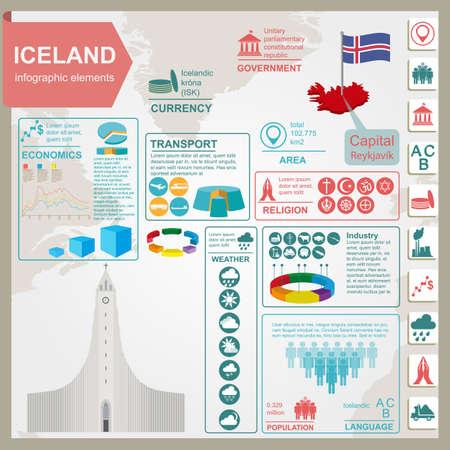 sights: Iceland infographics, statistical data, sights. Vector illustration