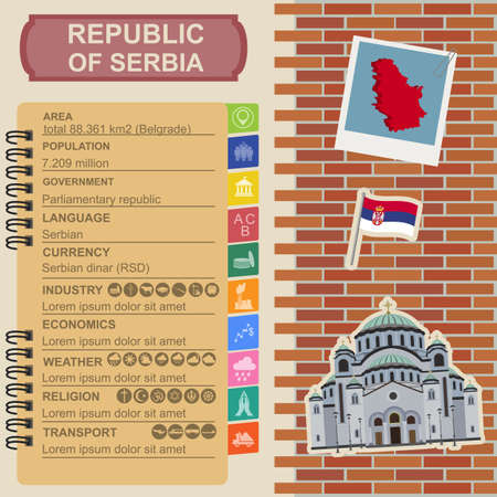 Serbia infographics, statistical data, sights. Vector illustration