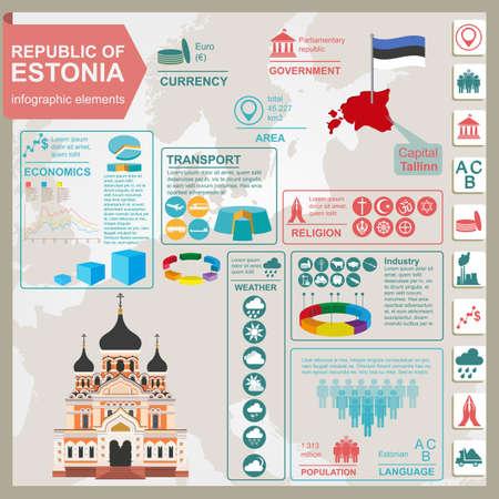 sights: Estonia infographics, statistical data, sights. Vector illustration Illustration