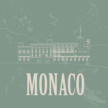 monaco: Monaco landmarks. Retro styled image. Vector illustration Illustration
