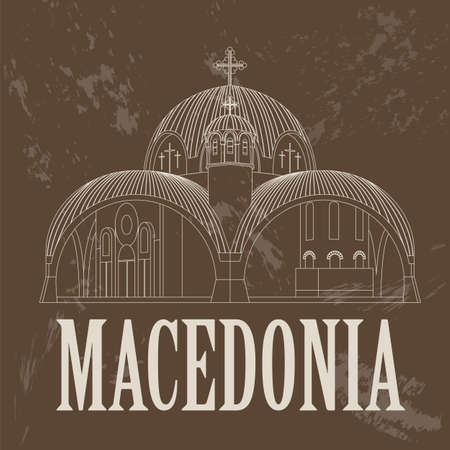 macedonia: Macedonia landmarks. Retro styled image. Vector illustration