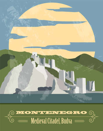 Montenegro landmarks. Retro styled image. Vector illustration Illustration