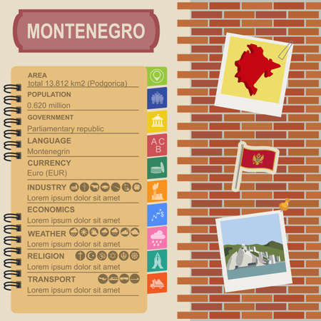 statistical: Montenegro infographics, statistical data, sights. Vector illustration