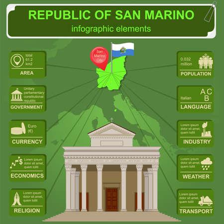 marino: San Marino infographics, statistical data, sights. Vector illustration