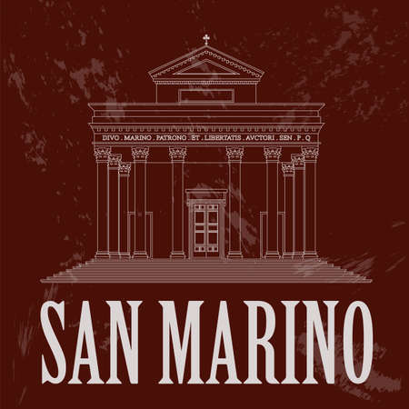 marino: San Marino landmarks. Retro styled image. Vector illustration Illustration