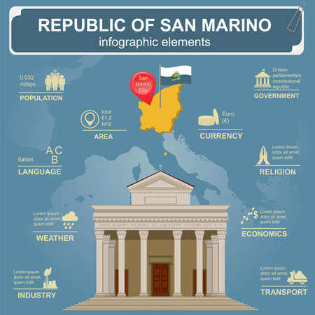 sights: San Marino infographics, statistical data, sights. Vector illustration