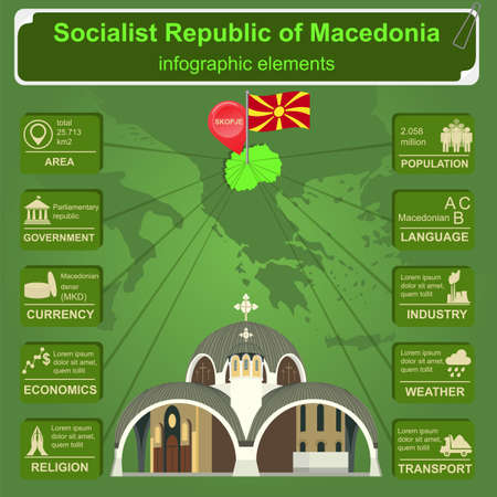Macedonia infographics, statistical data, sights. Vector illustration Ilustração