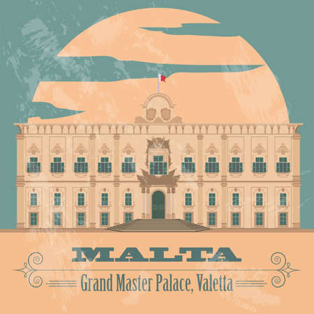 malta cities: Malta landmarks. Retro styled image. Vector illustration