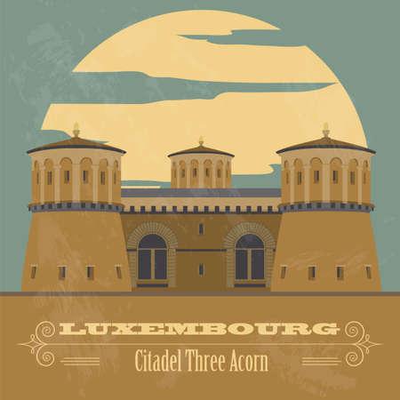 citadel: Luxembourg landmarks. Retro styled image. Vector illustration