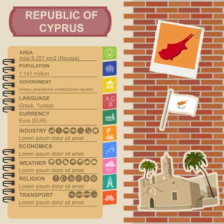 napa: Cyprus infographics, statistical data, sights. Ayia Napa Monastery. Vector illustration