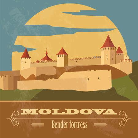 Moldova landmarks. Retro styled image. Vector illustration