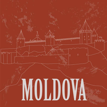 bender: Moldova landmarks. Retro styled image. Vector illustration