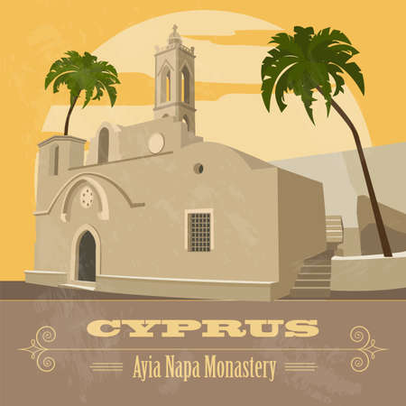 napa: Cyprus landmarks. Retro styled image. Ayia Napa Monastery. Vector illustration Illustration