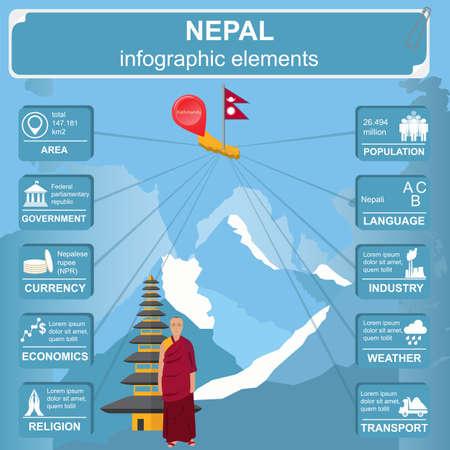 statistical: Nepal  infographics, statistical data, sights. Vector illustration Illustration