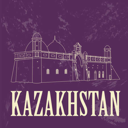 kazakhstan: Kazakhstan. Retro styled image. Vector illustration