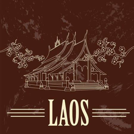 lao: Laos. Retro styled image. Vector illustration Illustration