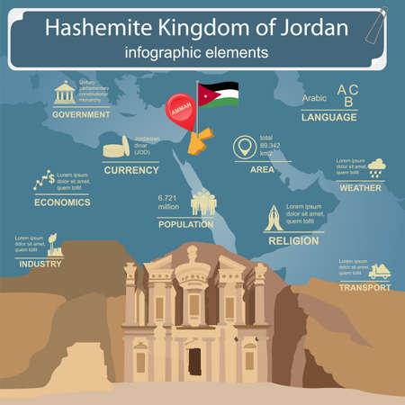 Jordan  infographics, statistical data, sights. Vector illustration