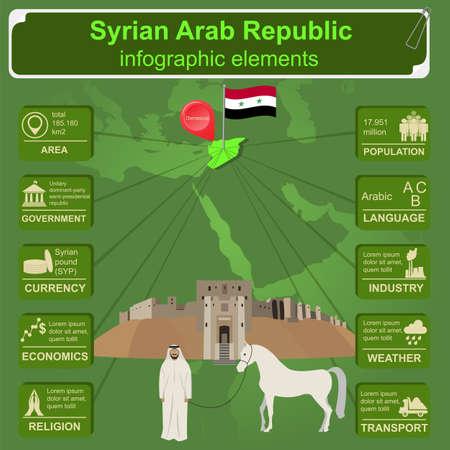 citadel: Syria infographics, statistical data, sights. Vector illustration Illustration