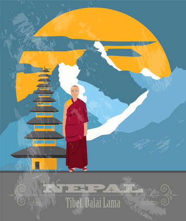 dalai: Nepal landmarks. Retro styled image. Vector illustration