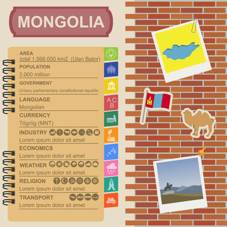 mongolia: Mongolia  infographics, statistical data, sights. Vector illustration
