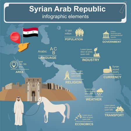 bedouin: Syria infographics, statistical data, sights. Vector illustration Illustration