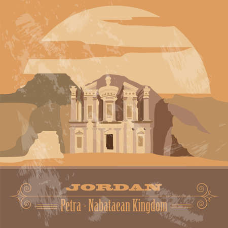 of petra: Jordan. Retro styled image. Vector illustration