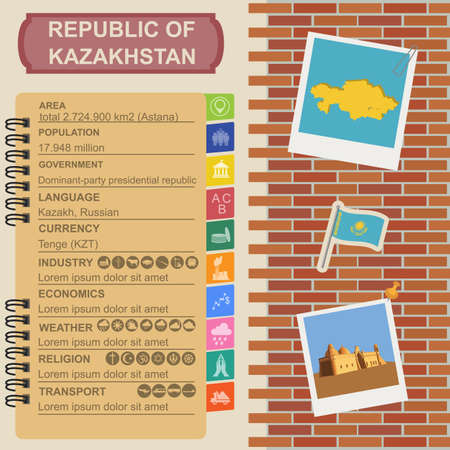 statistical: Kazakhstan  infographics, statistical data, sights. Vector illustration Illustration