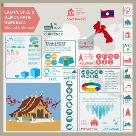 Laos infographics, statistical data, sights. Vector illustration