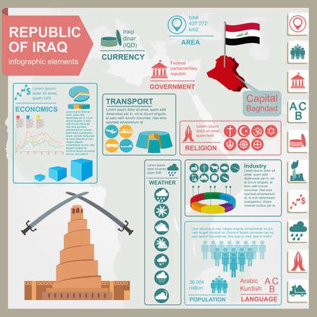 impurity: Iraq  infographics, statistical data, sights. Vector illustration Illustration