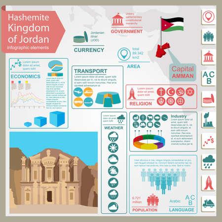 petra: Jordan  infographics, statistical data, sights. Vector illustration