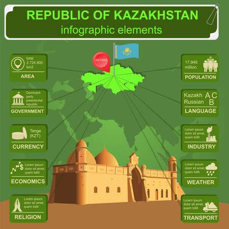 sights: Kazakhstan  infographics, statistical data, sights. Vector illustration Illustration
