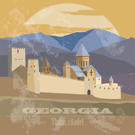 citadel: Georgia landmarks. Retro styled image. Vector illustration