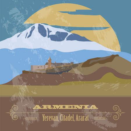 yerevan: Armenia landmarks. Retro styled image. Vector illustration
