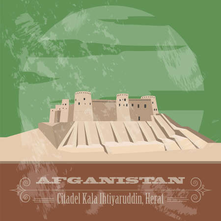 citadel: Afganistan landmarks. Retro styled image. Vector illustration