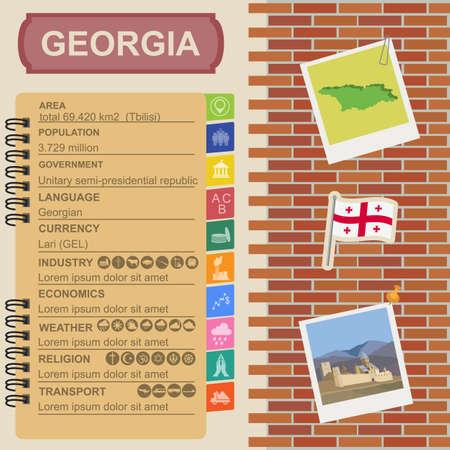 sights: Georgia  infographics, statistical data, sights. Vector illustration
